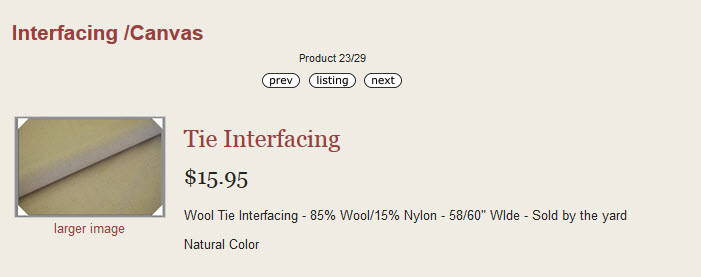 Wool Interfacing for Ties
